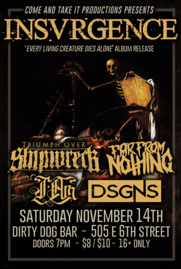 Upcoming show: DSGNS in Austin, TX on Nov 14th!