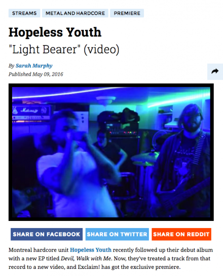 "HOPELESS YOUTH Premiere New Video for ""Light Bearer""!"
