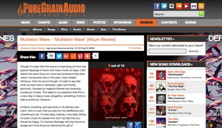 PureGrainAudio posts first review of Mutilation Wave!